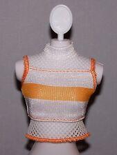 Barbie Doll Clothes Fashionista White & Orange Mesh Top Shirt