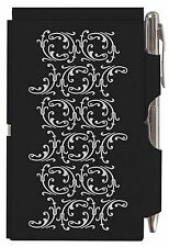 #1529 Wellspring Flip Note Paper Pad w/Pen SOPHIE SCROLL Pattern Black Silver