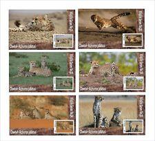 CHEETAH WILD CATS  CAT 6 SOUVENIR SHEETS MNH UNPERFORATED ANIMALS FAUNA