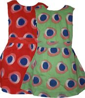 NEW MARKS AND SPENCER GIRLS GREEN RED SUMMER COTTON DRESS 2-3, 3-4, 4-5, 5-6 6-7