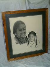 LARGE FRAMED AND MATTED LITHOGRAPH OF NATIVE AMERICAN MAN SIGNED SHAWN? 1990