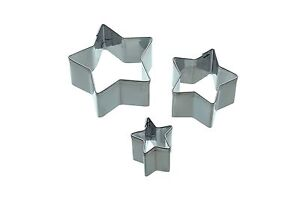 KITCHENCRAFT Set 3 Small Metal Star Fondant Cutters. Cupcakes/Biscuits/Baking