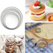 5Pcs Stainless Steel Round Circle Cookie Fondant Cake Gum Paste Mould Cutter