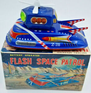 """MINT  """"FLASH SPACE PATROL""""  1960 TPS JAPAN  BATTERY OP. VTG,TIN WITH ORG BOX"""