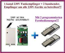 Funk Funkschalter Funkempfänger 1-Kanal 10A 230V AC + 2 handsender