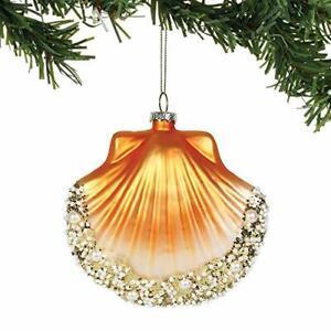 Enesco Coast Pacific Gold Scallop Shell Glass Ornament Christmas