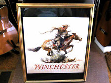 Heavy Gold Frame WINCHESTER FIREARM Cowboy Wood Glass Picture Art Philip Goodwin