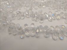 Crystal Glass Faceted Drop Beads, Clear AB, 13x6mm, Hole: 1mm - Qty 20