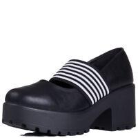 Womens Platform Block Heel Ankle Boots Shoes