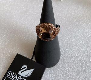 Genuine Swarovski (Swan Logo) Rose Gold Tone Crystal Ring - Size Medium