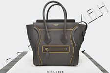 CELINE PARIS Authentic New Micro Luggage Tote Bag Interstice Dark Taupe Leather