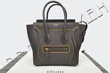 CELINE PARIS Authentic New Micro Luggage Tote Bag Interstice Dark Taupe Leather