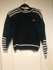 Kids UNISEX Youth sz 12-14 Lacoste Cotton Knit Nautical Navy White Long Sleeve S