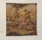 Vintage Antique French Tapestry, Music, Sheep, Gold, Green, Pink  Brown