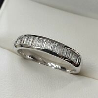 2ct Baguette Cut Diamond Solid 10k White Gold Women's Wedding Band Ring
