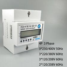 4P 10(100)A 3*230V/400V 50HZ Din rail KWH Watt hour din-rail energy meter LCD