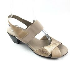 MUNRO Darling womens sandals size 10 W Wide taupe metallic gold suede shoes $179