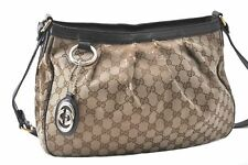 Authentic GUCCI Sukey Shoulder Bag GG Canvas Leather Brown A5621