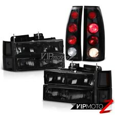 DARK SMOKE Corner Headlight+Black Tail Lights Chevrolet C1500 C2500 Silverado