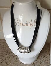"NEW WITH TAGS KARMA BELLA LEATHER CORDS SILVER TONE RINGS ACCENTS 18"" NECKLACE"