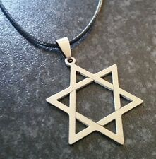 Star Of David Stainless Steel Pendant Necklace, Wax Cotton Cord.