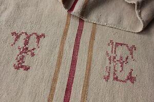 GRAIN SACK hemp grainsack  TE RUSTIC caramel red striped bag linen