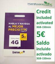 Tarjeta Llamaya SIM Card credit 5€* saldo activated your name activada tus datos