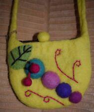 Handmade Felt Bag Child's Felted Yellow Caterpillar Leaf Ethical Fair Trade