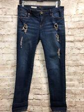 Kut From The Kloth Catherine Boyfriend Jeans 4 Dark Blue distress straight Denim