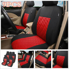 9pcs Auto Seat Covers Polyester Red Universal For Standard Car Front + Rear Seat