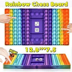 Push it Pop Game Fidget Toy Silicone Rainbow Chess Board Bubble Sensory Toys