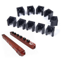 10PC Billiards Cue Rack Pool Stick Holder Clamps Wall Mount Hanger Clips Black
