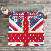 Shabby Chic Quilted Bedspread & Pillow Shams Set, British Flag Floral Print