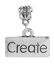 Create Inspirational Word Message Artist Charm for Silver European Bead Bracelet