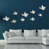 Fun Birds 3D Mirror Wall Stickers Decal Art Vinyl Room Decor DIY Removable Home