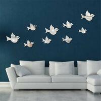 Fun Birds 3D Mirror Wall Stickers Decal Art Vinyl Room Decor DIY Removable Home