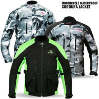 New Mens Motorcycle Waterproof Cordura Textile Jacket Motorbike Camo Hiviz Green