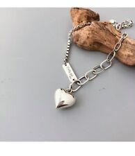 Vintage Handmade Love Heart Bracelet for Women Thai Silver 925