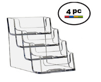 4 Acrylic Plastic Business Card Holder Displays Deflecto Style,  CLEAR  4 Pocket