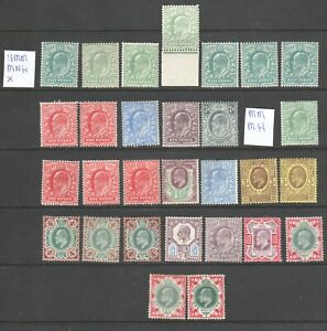 GB KEVII, UNUSED COLLECTION, 30 STAMPS TO ONE SHILLING FV,  INCL UMM/MNH UNCHKD