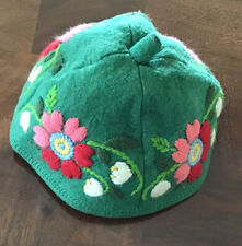Vintage Swiss Floral Embroidered Felt Wool Child's Beanie Cap