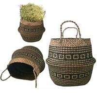 Seagrass Belly Basket Flower Plants Pots Laundry Storage House Garden Organizer