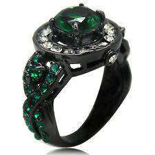 Size 5 to 11 Black Wedding Engagement Ring Green Emerald Crystal Gemstone Bridal