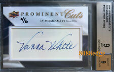 "2009 PROMINENT CUTS AUTO: VANNA WHITE #4/6 AUTOGRAPH ""WHEEL OF FORTUNE"" BGS 9"