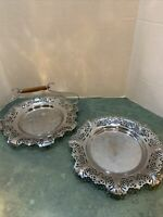 Vintage Lot Of 2 Krome Kraft Farber Bros.  Serving Trays /BAKELITE HANDLE