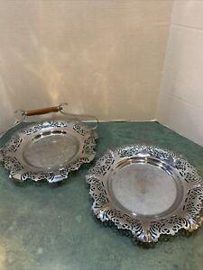 Vintage Lot Of 2 Krome Kraft Farber Bros.  Serving Trays /BAKELITE HANDLE