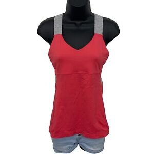 Lululemon Push Your Limits Coral Top Gray Stripe Cross Back Tank Womens • Size 8