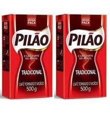 2 Pilao Brazilian Coffee 17.6oz Vacuum Sealed Pack 500g-Pilao Cafe 2 Packs (1kg)