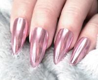 Pink Rose Gold Mirror Powder Chrome Metallic Effect Glitter Nail Art Gel Polish