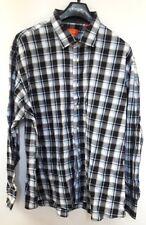 Tallia Orange 100% Cotton Blue Black Plaid Long Sleeve Dress Shirt 2XL XXL 18.5